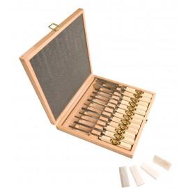 Cassetta in legno con 12 attrezzi da scultura + pietra ref. 3154 HK