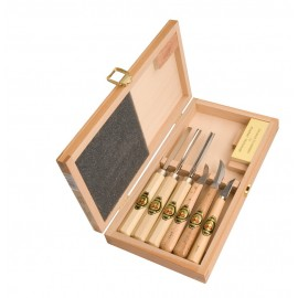 Set of 6 Small Two Cherries Carving Tools with Stone