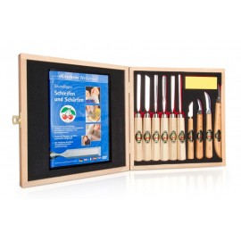 Set of 12 Small Two Cherries Carving Tools with Stone and Presentation Box