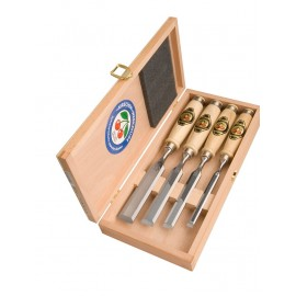 Set di 4 scalpelli con manico de legno